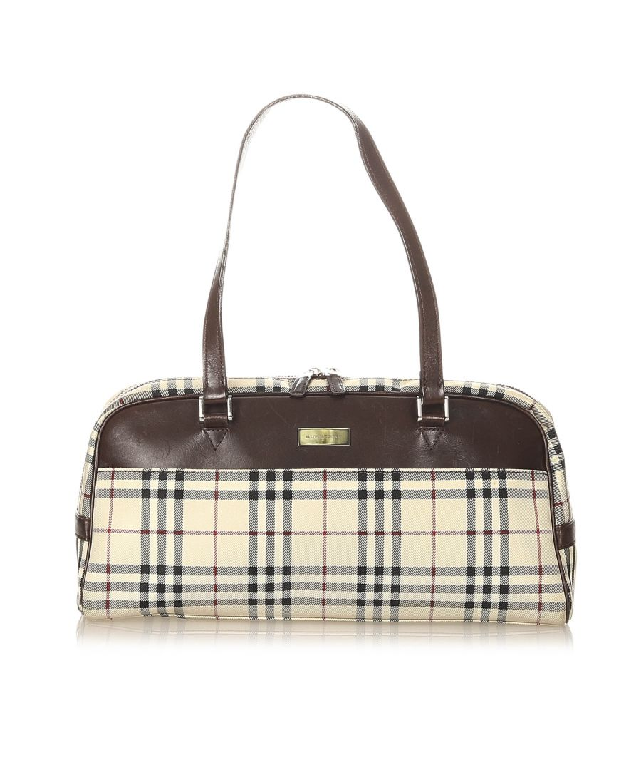 Image for Vintage Burberry House Check Canvas Boston Bag Brown