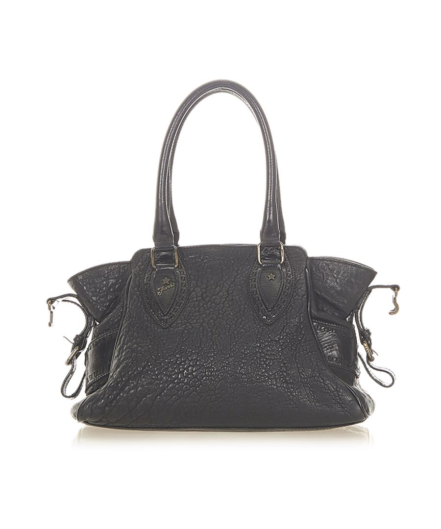Image for Vintage Fendi Etniko Leather Handbag Black