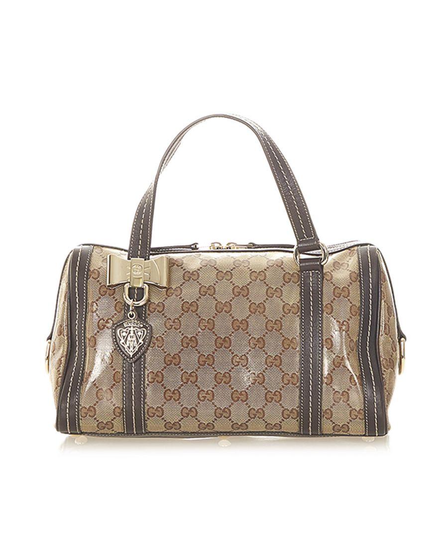 Image for Vintage Gucci GG Crystal Duchessa Boston Bag Brown