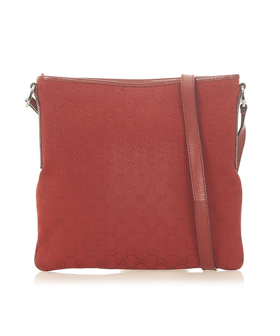 Image for Vintage Gucci GG Canvas Crossbody Bag Red