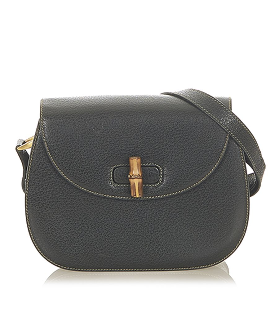 Image for Vintage Gucci Bamboo Leather Crossbody Bag Black