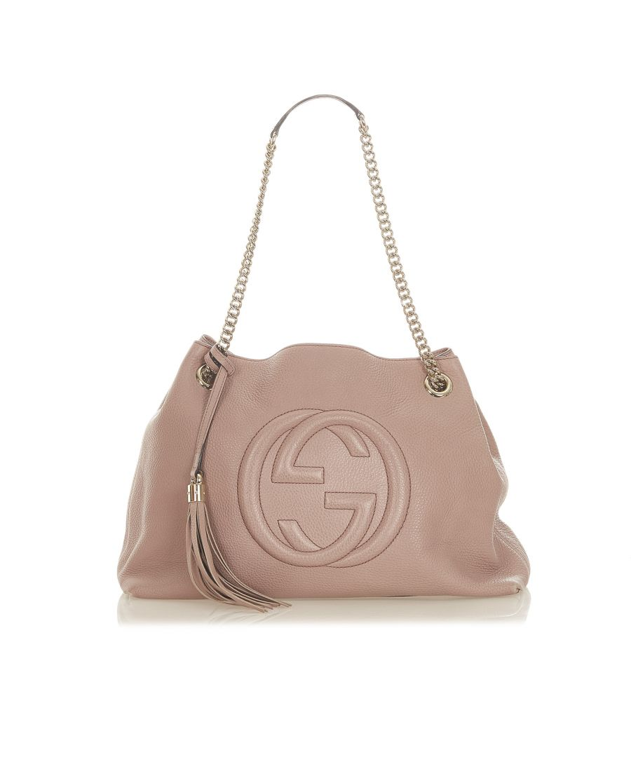 Image for Vintage Gucci Soho Chain Leather Tote Bag Pink