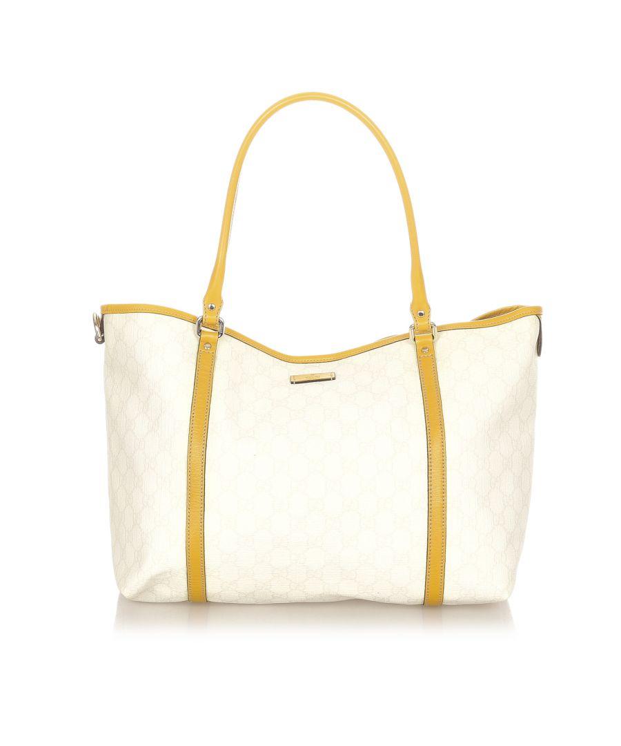 Image for Vintage Gucci GG Supreme Joy Tote Bag White