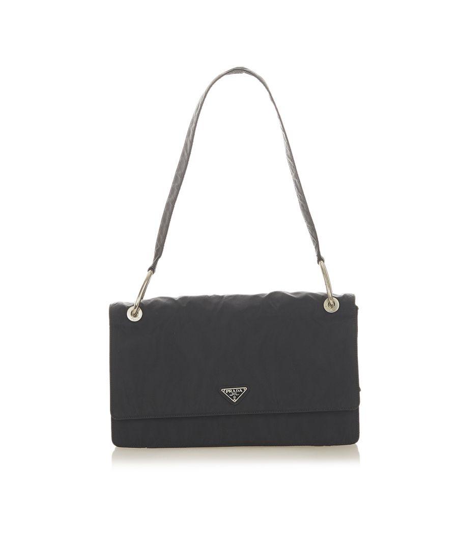 Image for Vintage Prada Tessuto Shoulder Bag Black