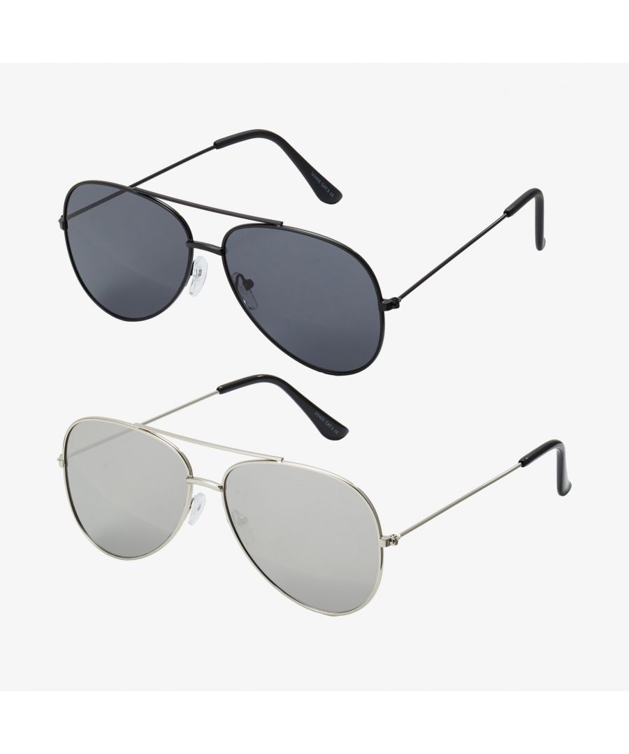 Image for Only & Sons 2 Pack Aviator Sunglasses Black & Silver