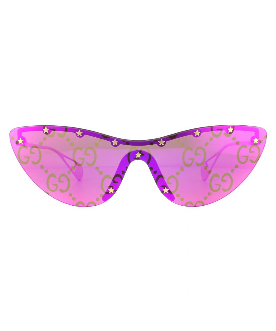 Image for Gucci Sunglasses GG0666S 003 Gold Green with Monogram Magenta Flash Mirror
