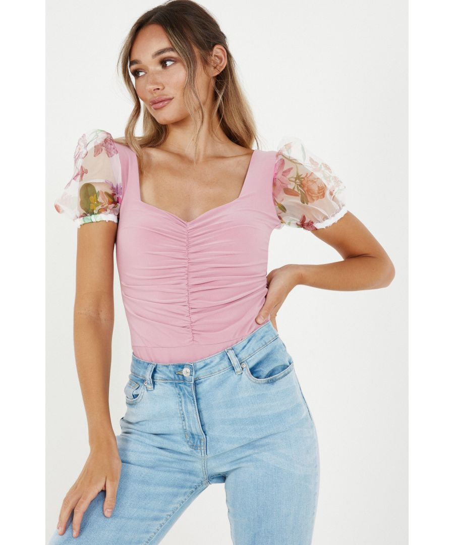 Image for Pink Organza Sleeve Ruched Bodysuit