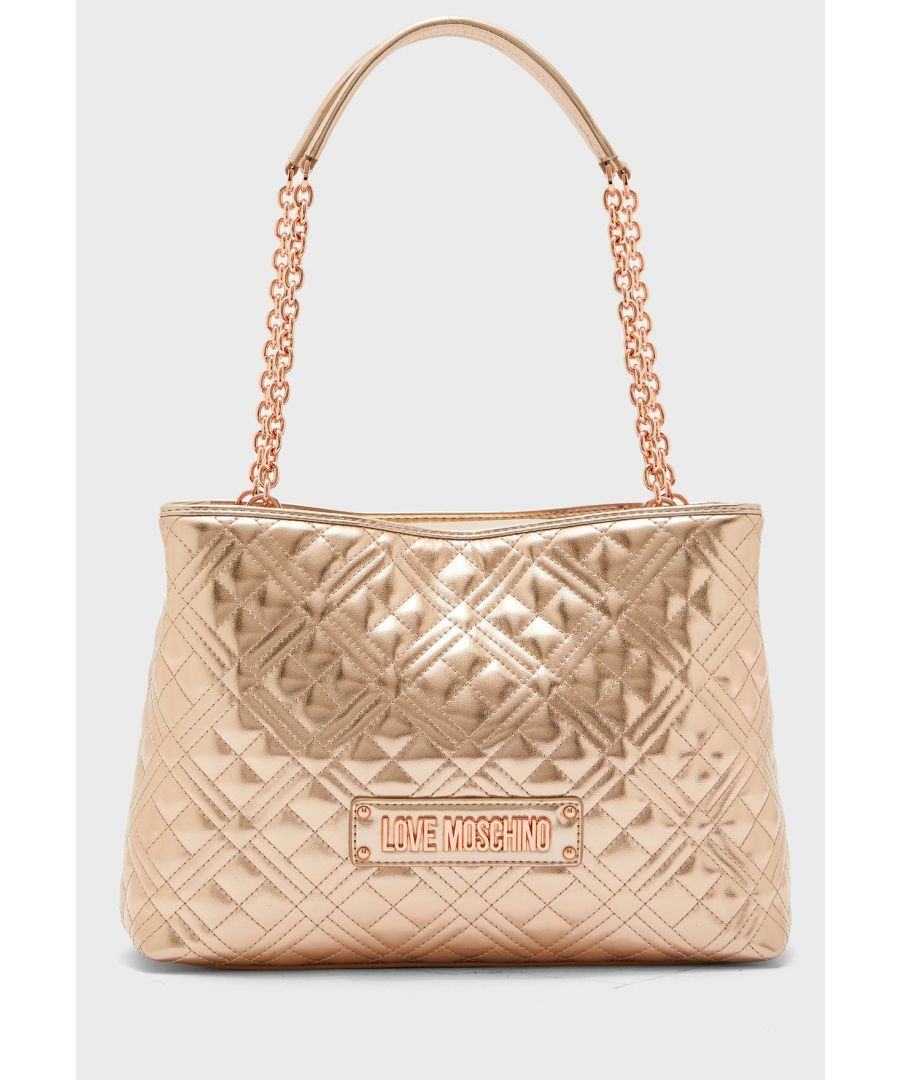 Image for Love Moschino Quilted Laminated Shopper Shoulder Bag in Gold