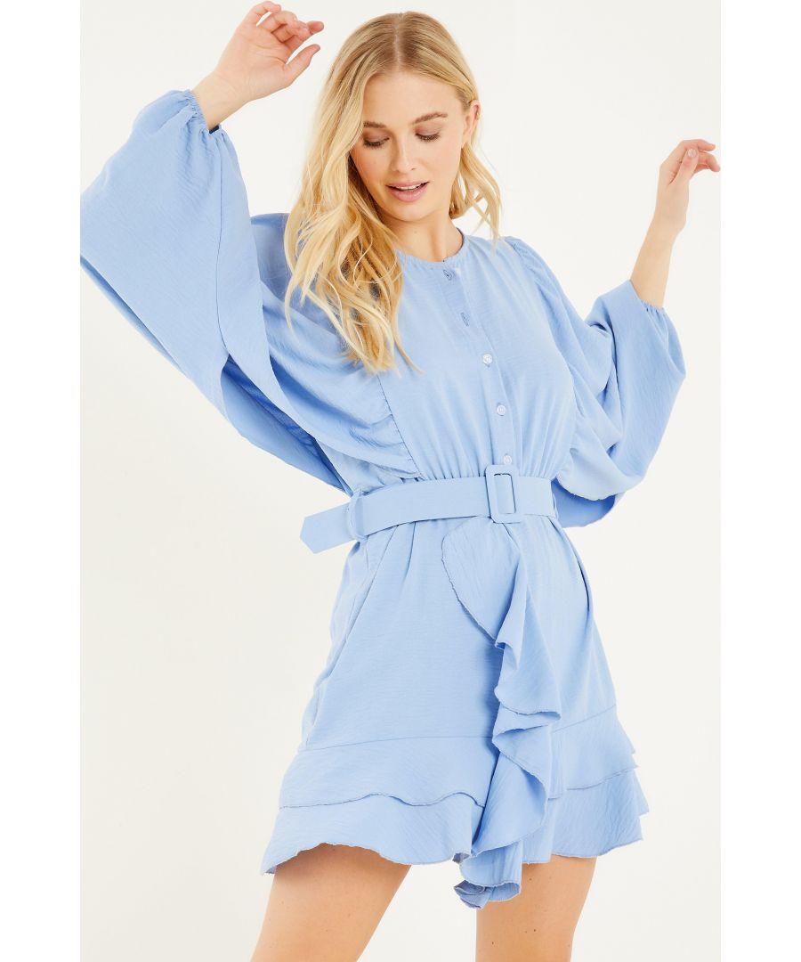 Image for Blue Frill Skater Dress