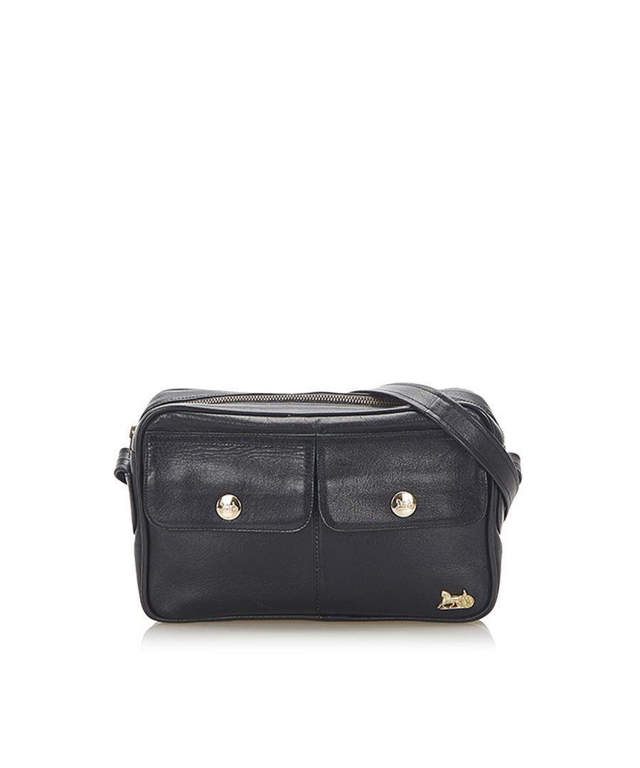 Image for Vintage Celine Carriage Leather Shoulder Bag Black