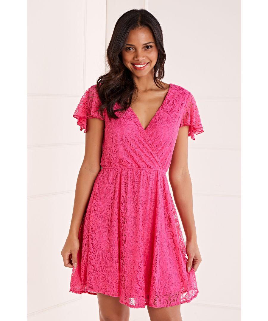 Image for Mela Wrap Front Lace Skater Dress
