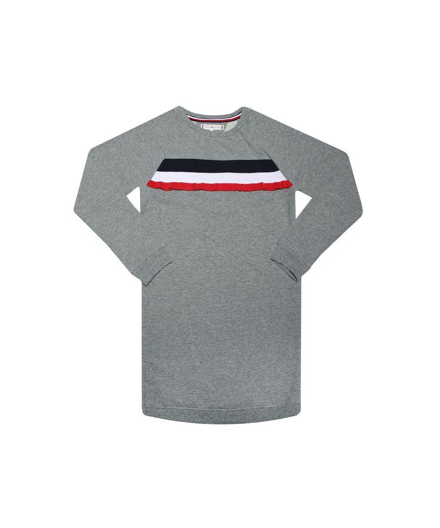 Image for Girls' Tommy Hilfiger Infant Ruffle Stripe Sweatshirt Dress In Grey Heather