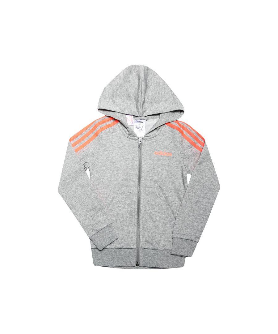 Image for Girls' adidas Junior Essentials 3-Stripes Zip Hoodie Grey Heather 7-8In Grey Heather