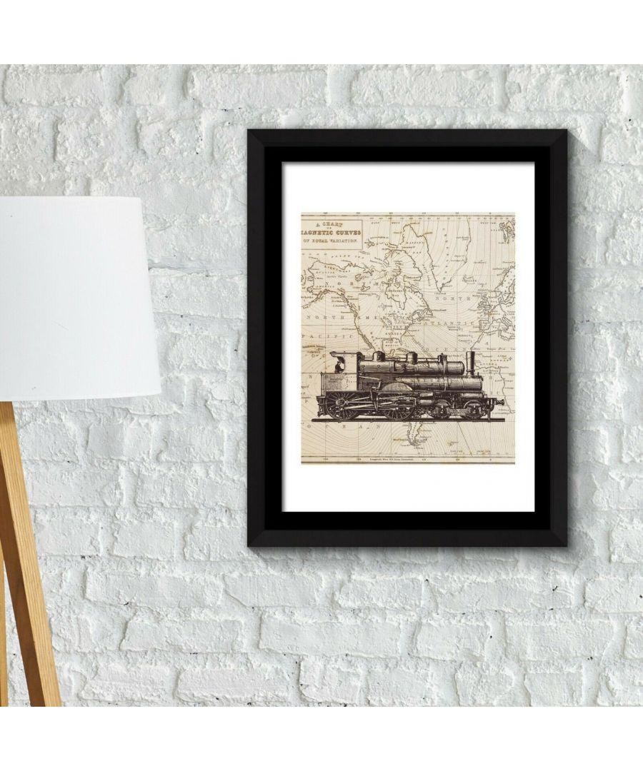 Image for Framed Art 2in1 Classic Train Poster Framed Photo, Framed Art