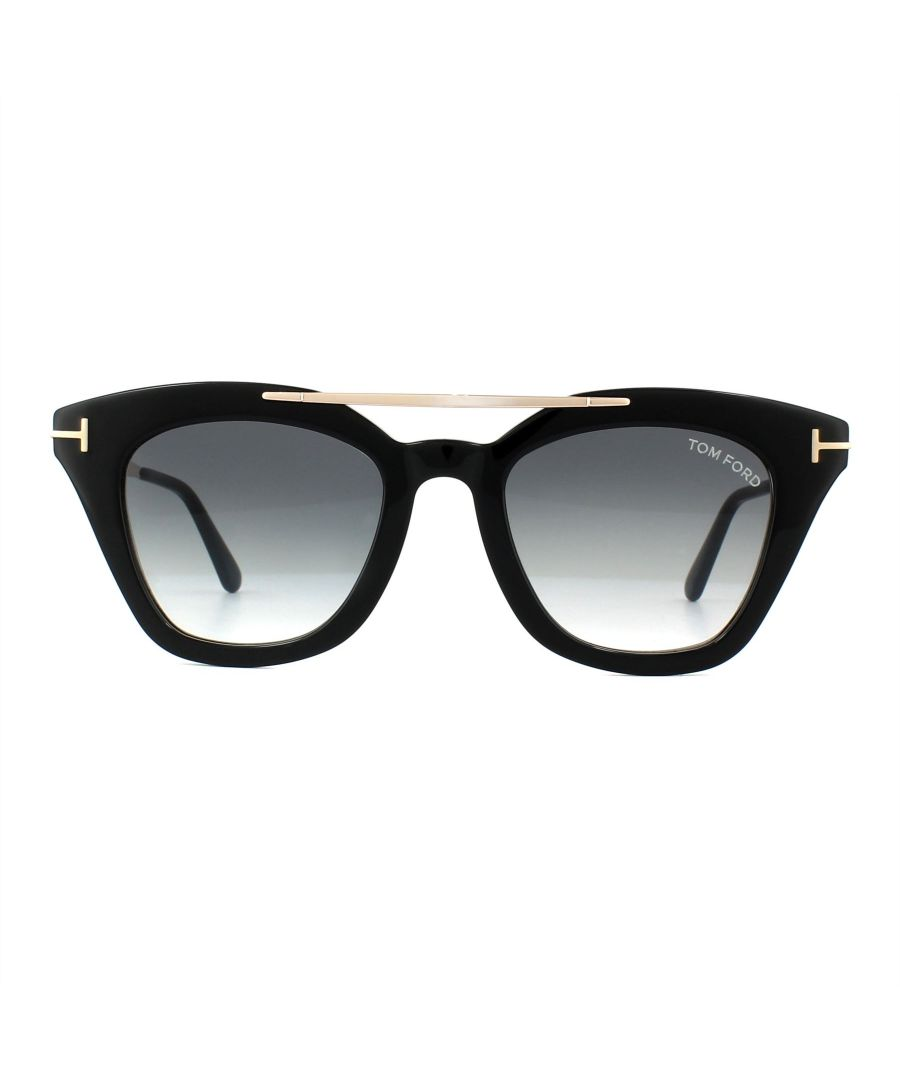 Image for Tom Ford Sunglasses 0575 Anna 01B Shiny Black Grey Gradient