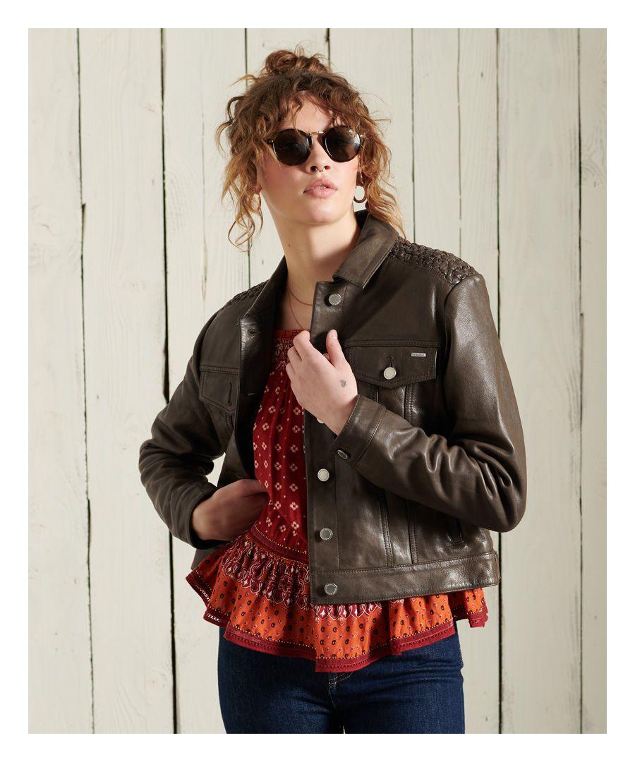 Image for Superdry Leather Stateside Trucker Jacket