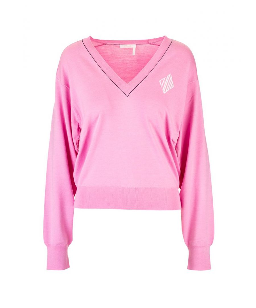 Image for CHLOÉ WOMEN'S CHC20SMP696006G8 PINK WOOL SWEATER