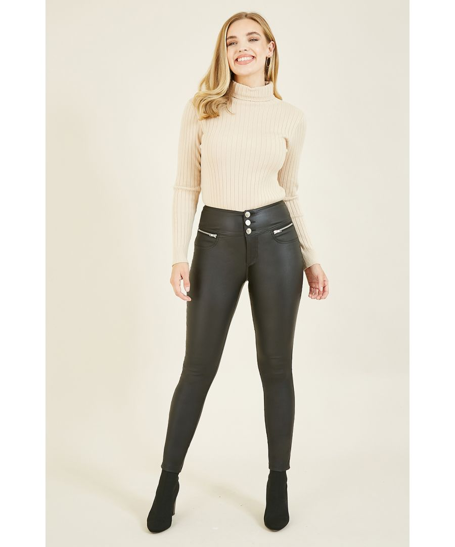 Image for Yumi Black Wet Look Jegging