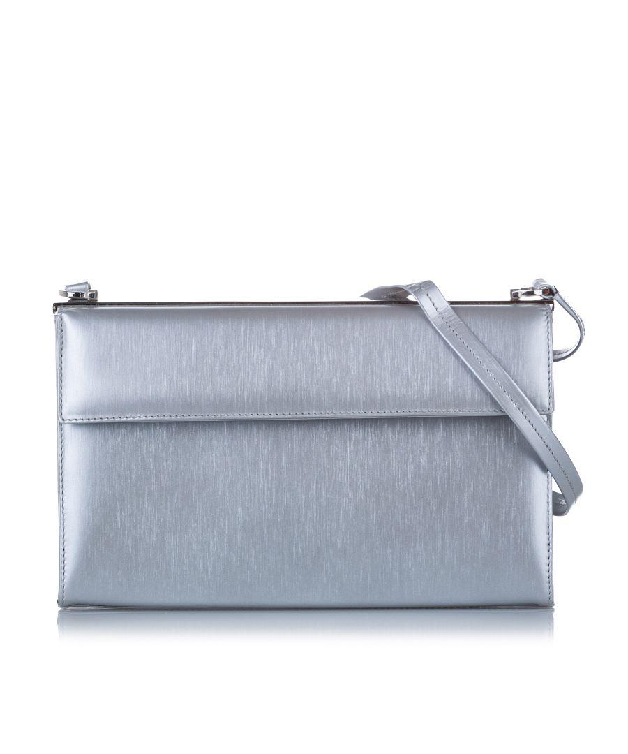 Image for Vintage Ferragamo Leather Shoulder Bag Silver