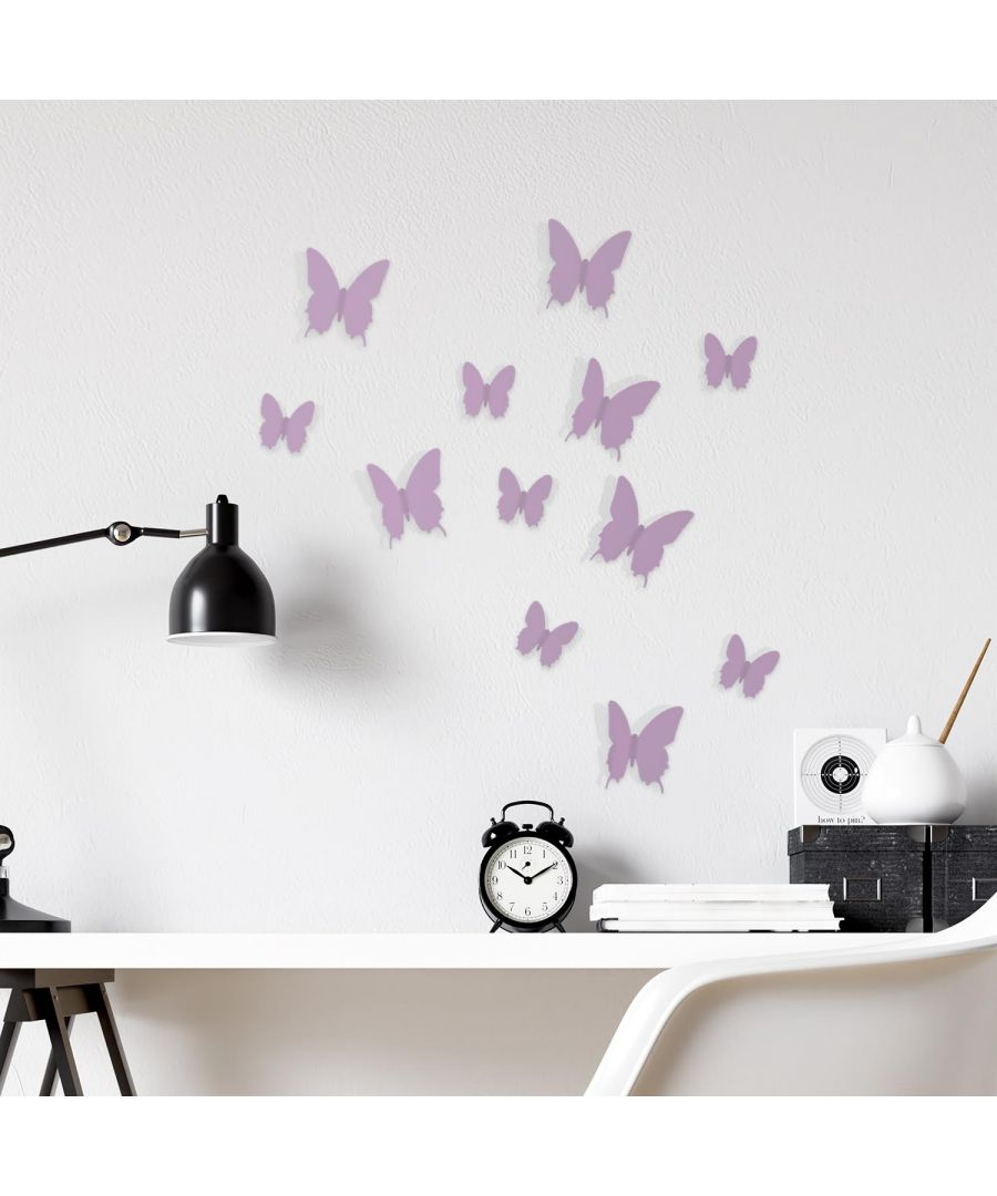Image for 3D Butterfly - Lavender Wall Stickers, Living Room, Butterflies Decoration