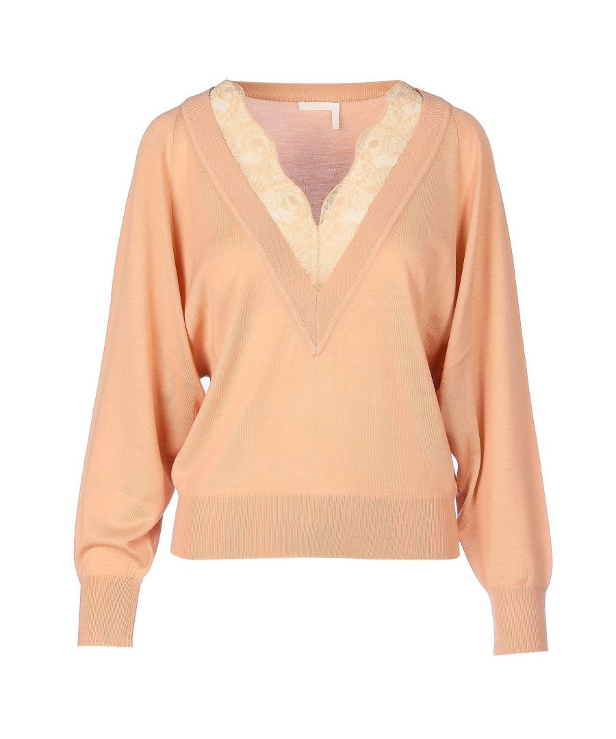 Image for CHLOÉ WOMEN'S CHC20SMP105506A8 PINK WOOL SWEATER