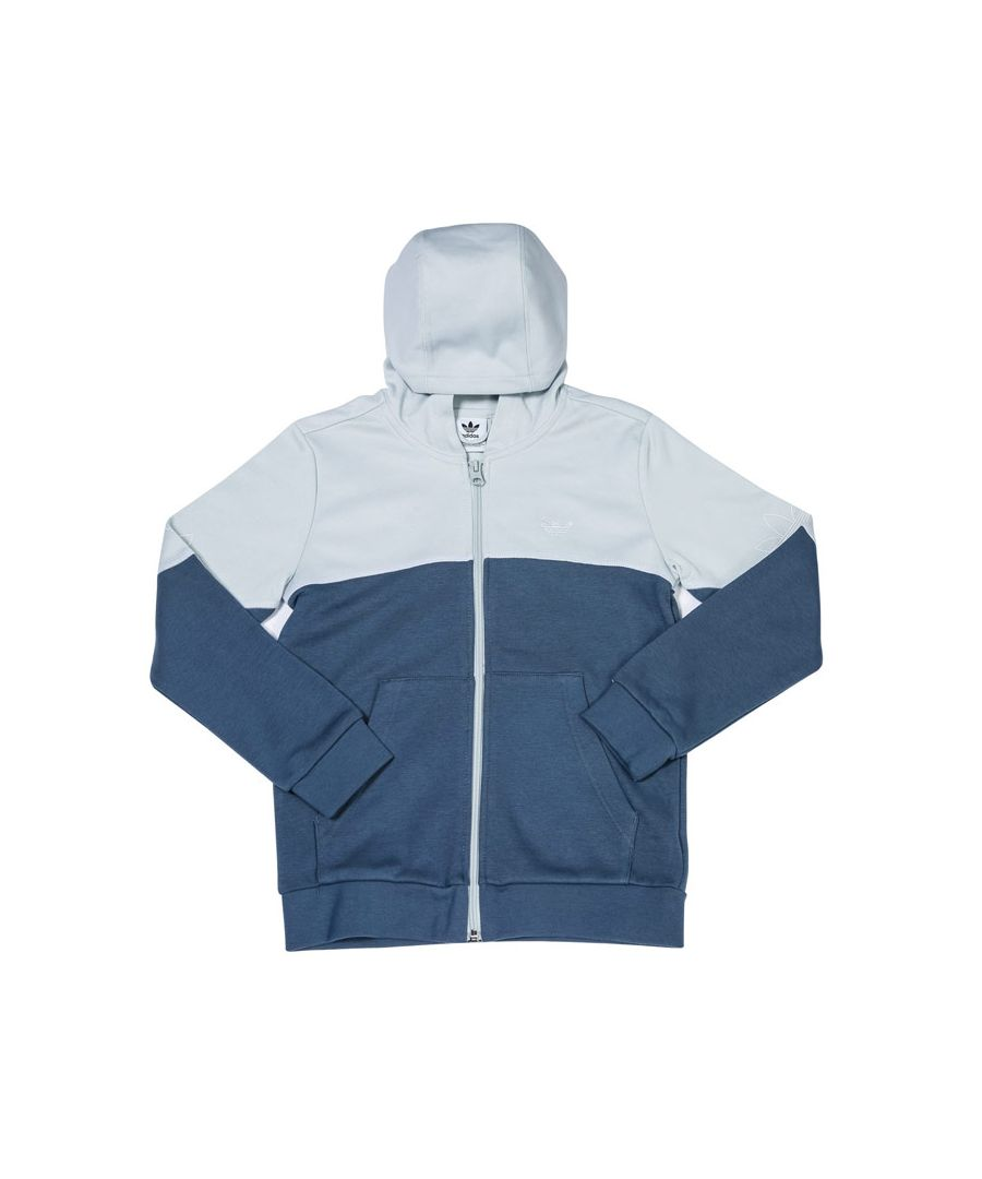 Image for Boys' adidas Originals Junior Outline Zip Hoodie in Grey Blue