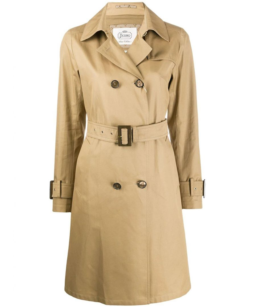 Image for HERNO WOMEN'S IM0118D132182000 BEIGE COTTON TRENCH COAT