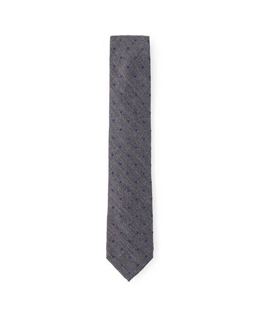 Image for Men's Hackett Wool & Silk Dot Tie in Charcoal