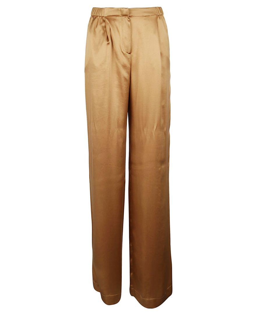 Image for ALBERTA FERRETTI WOMEN'S A032801170087 BEIGE SILK PANTS