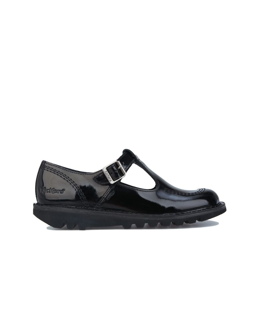 Image for Women's Kickers Kick Lo Aztec Patent Leather Shoes in Black
