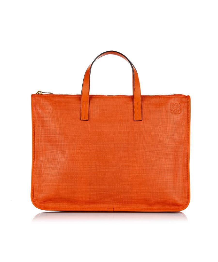 Image for Vintage Loewe Goya Leather Briefcase Orange