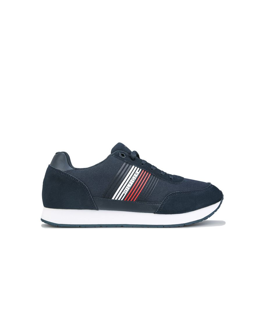 Image for Tommy Hilfiger Men's Suede Mix Runner Trainers in Navy