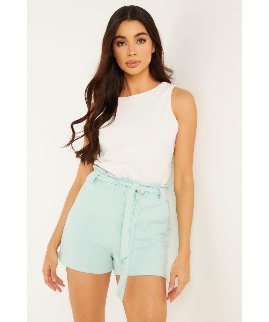 Image for Mint Green Paper Bag Belted Shorts
