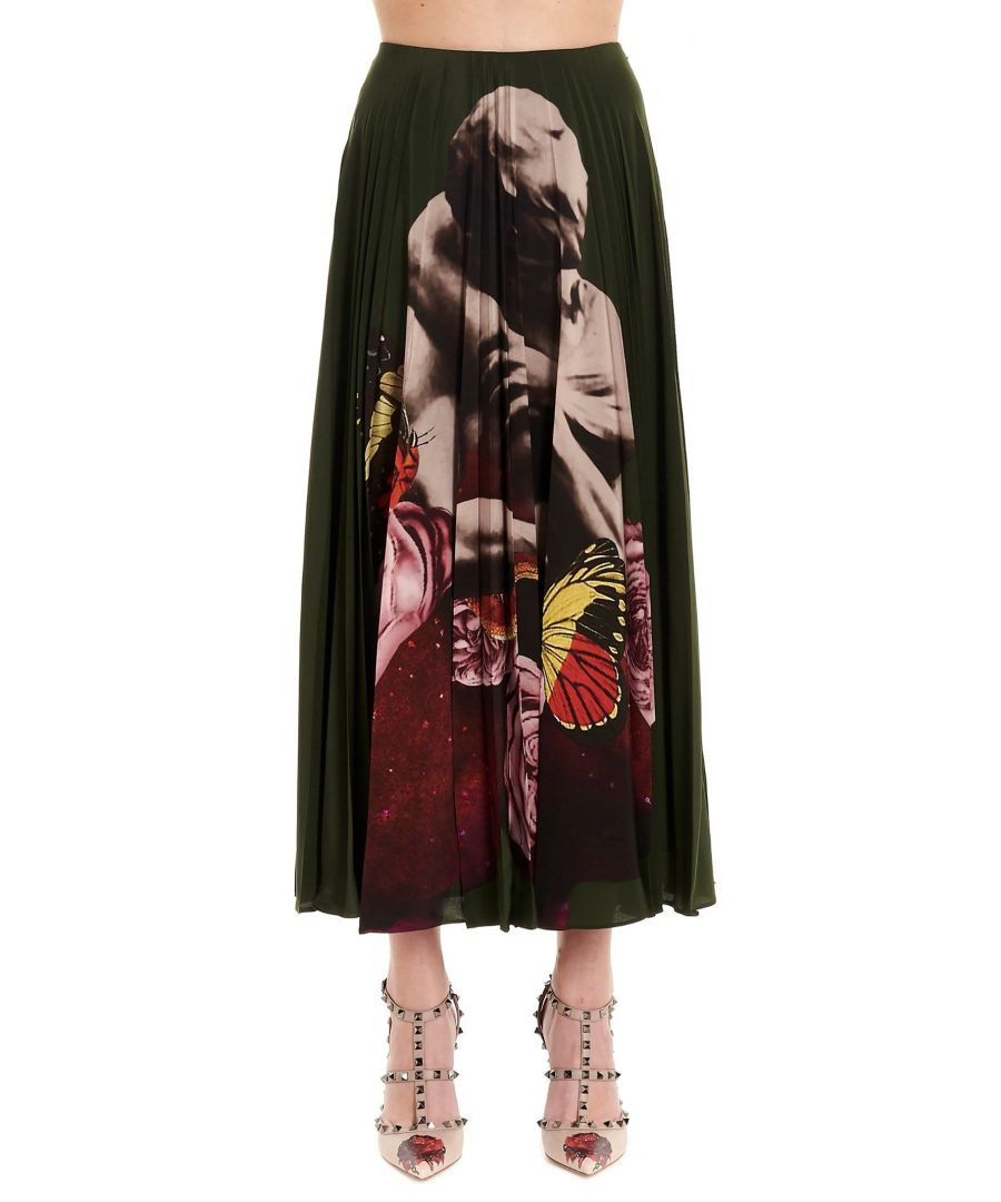 Image for VALENTINO WOMEN'S SB0RA55750KB96 GREEN SILK SKIRT