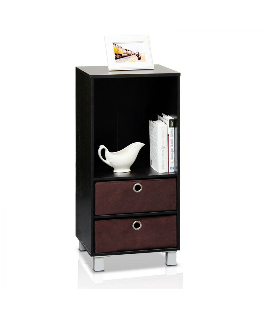 Image for Furinno Shelves Cabinet Bedside Night Stand with 2 Bin Drawers - Espresso/Brown
