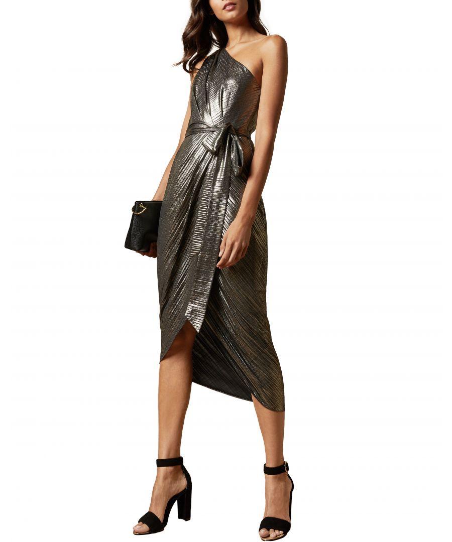 Image for Ted Baker Gabria One Shoulder Drape Midi Dress, Gold