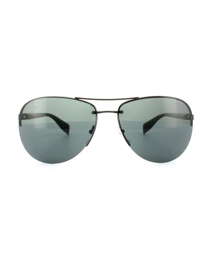 Image for Prada Sport Sunglasses 56MS 1BO1A1 Semi-Shiny Black Grey 62mm