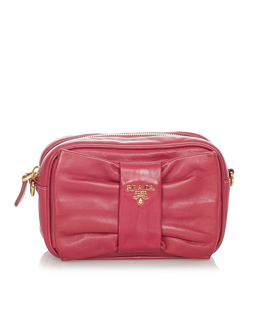 Image for Vintage Prada Fiocco Bow Leather Crossbody Bag Red