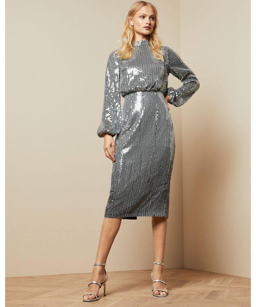 Image for Ted Baker Ophllia Long Sleeve Sequin Midi Dress, Gunmetal