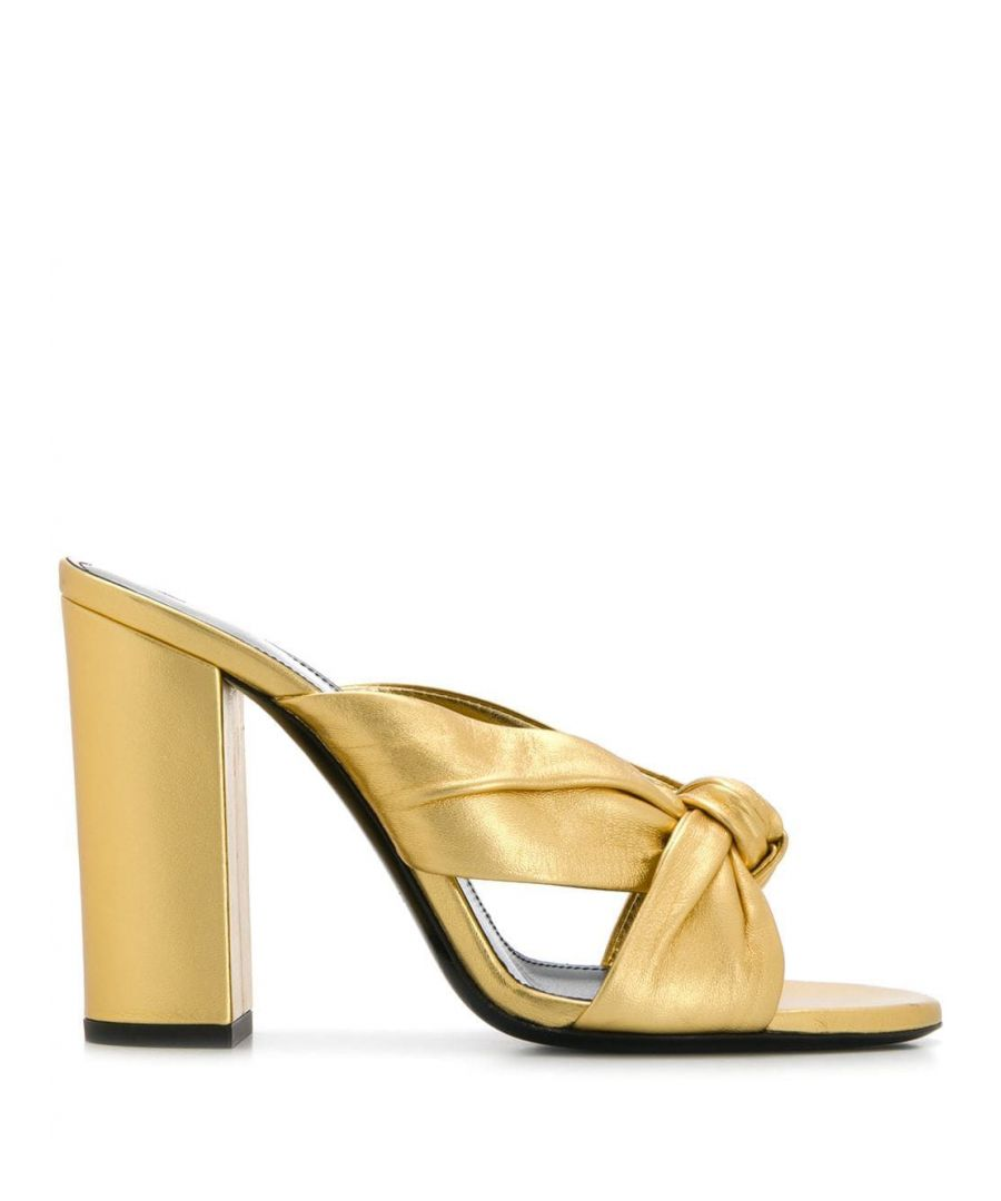 Image for SAINT LAURENT WOMEN'S 6085360XQ008030 GOLD LEATHER SANDALS