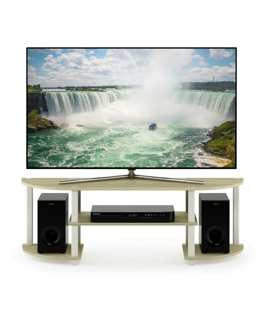Image for Furinno Turn-S-Tube Wide TV Entertainment Center, Cream Faux Marble/White