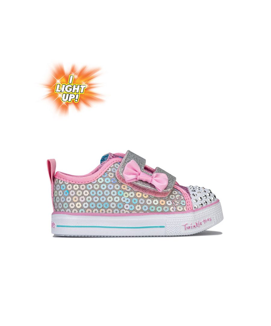 Image for Girl's Skechers Infant Shuffle Lite Mermaid Trainers in White pink