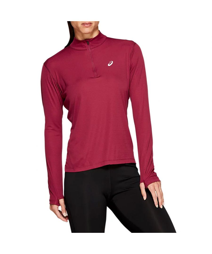 Image for Asics Silver 1/2 Zip Womens Top Pink - S
