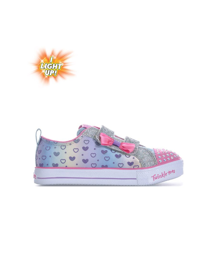 Image for Girl's Skechers Infant Shuffle Lite Sparkly Hearts Trainers in Purple