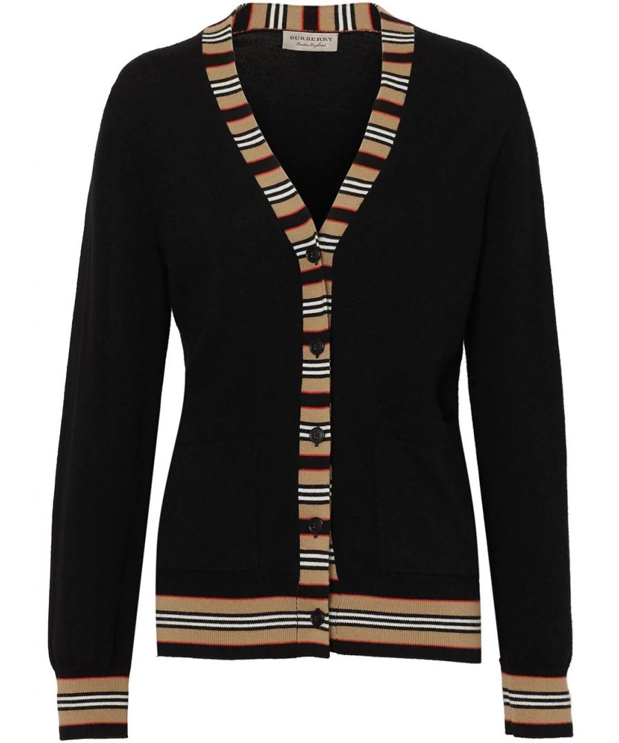 Image for BURBERRY WOMEN'S 8008953 BLACK WOOL CARDIGAN