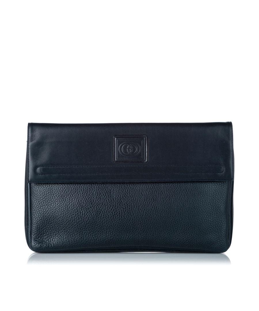 Image for Vintage Gucci Leather Clutch Bag Blue