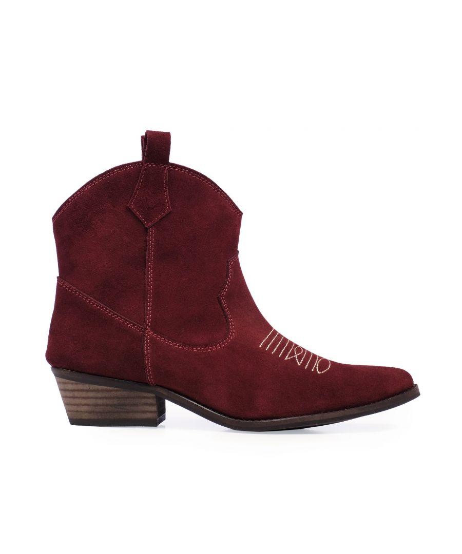 Image for Eva Lopez Ankle Leather Boots Cowboy Women Bordeaux