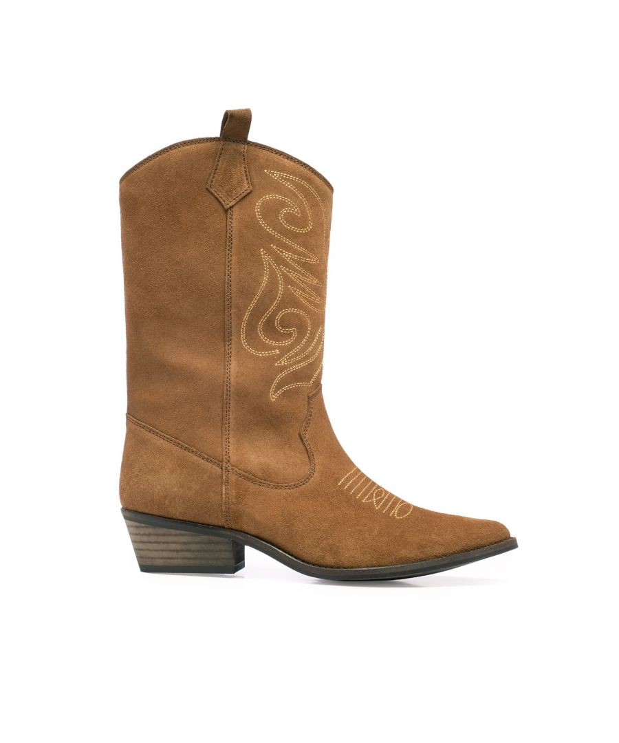 Image for Eva Lopez Leather Cowboy Boots Women Roble Made in Spain