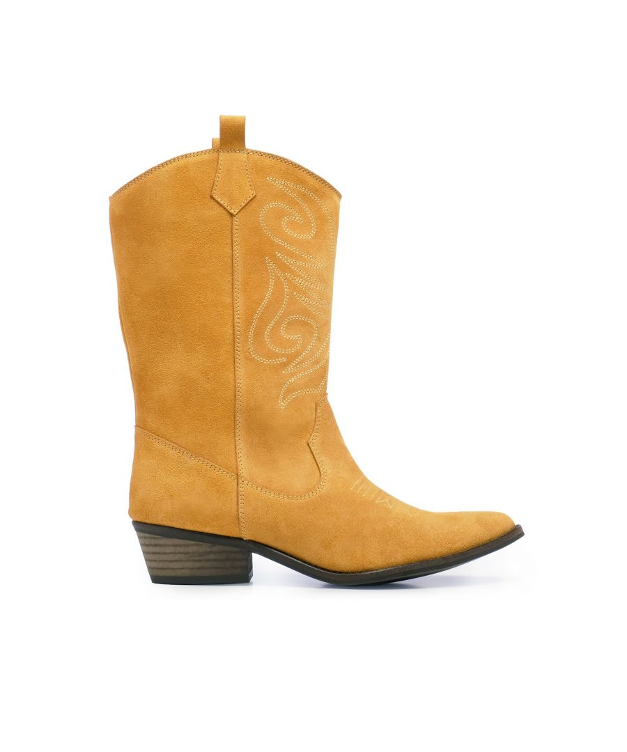 Image for Eva Lopez Leather Cowboy Boots Women Camel Made in Spain