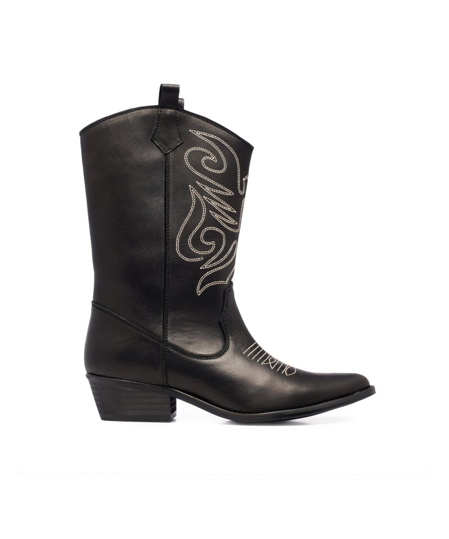 Image for Eva Lopez Leather Cowboy Boots Women Black